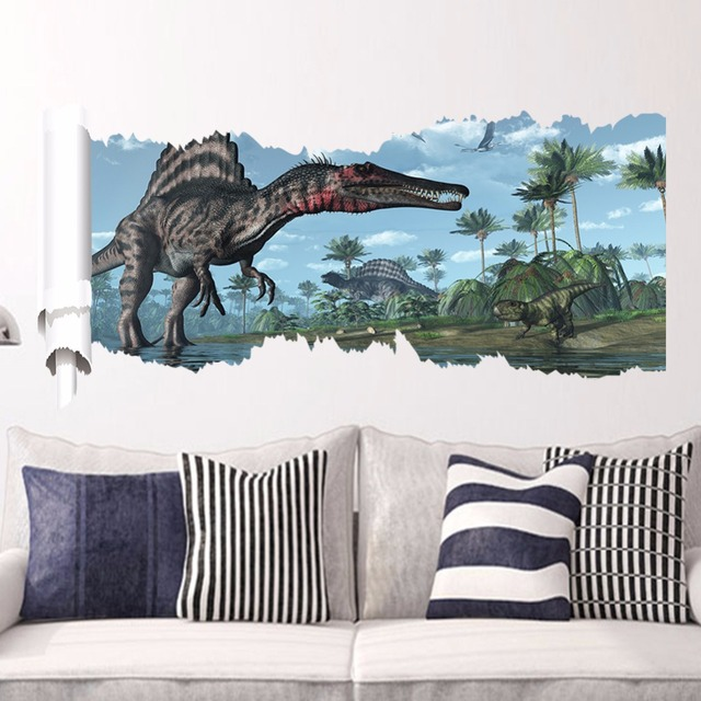 Jurassic Period Wall Stickers Home Decor Living Room Spinosaurus Dinosaur  Wall Decals Removable Vinyl Sticker