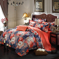Classical National 11 Styles Silk Bedding Set 4Pcs Set Duvet Cover+ Sheet+ Pillow Case Size King Queen Jacquard Wedding Bedlinen