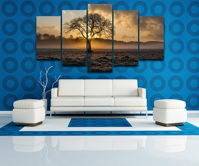 5 Panel Canvas Painting Vintage Wall Art Frame Printed Pictures Sunrise Tree Landscape Photo For Living Room Decor Poster TYG