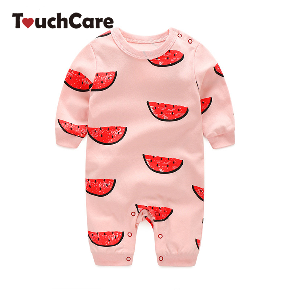 Cute Cartoon Watermelon Printed Baby Boys Girls Rompers Infant Soft Cotton Long Sleeve Jumpsuit Newborn Candy Color Kid Clothes 2016 new newborn baby boys girls clothes rompers cotton tracksuit boys girls jumpsuit bebes infant long sleeve clothing overalls