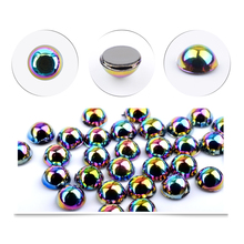 300pcs/pack Chameleon 3D Tips Nail Art Decoration Black Pearl Bead Acrylic Rhinestone 5mm Semi-circle Flat DIY Phone Manicure