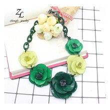 CC collier acrylique fleurs collier 2016 ZHONGLV Printemps De Luxe Bijoux Chaîne Résine Fleur ZA Déclaration Colliers pour les femmes(China (Mainland))