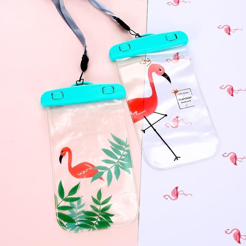 Flamingo Beach Coin Purses Women Waterproof Neck Strap Phone Bags Case Kids Unicorn Cartoon Seaside Purse Girls Money Bag Pouch