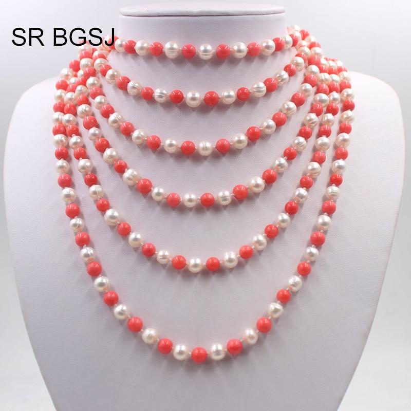 Livraison gratuite perle de culture naturelle presque ronde et perles de corail rose noeud corde longue femmes collier 6-7mm 100