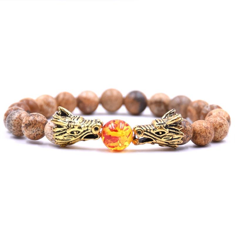 HYHONEY 8MM Natural Stone Beads Bracelet For Men bileklik Men Jewelry Dragon pulseras 22