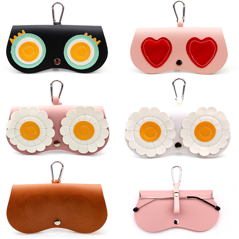 SOOLALA Unique PU Leather Clip Glasses Bag Multi-function Cartoon Eyeglasses Case Women Reading Glasses Sunglasses Storage