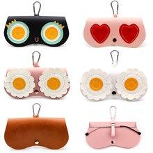 SOOLALA Unique PU Leather Clip Glasses Bag Multi-function Cartoon Eyeglasses Case Women Reading Sunglasses Storage