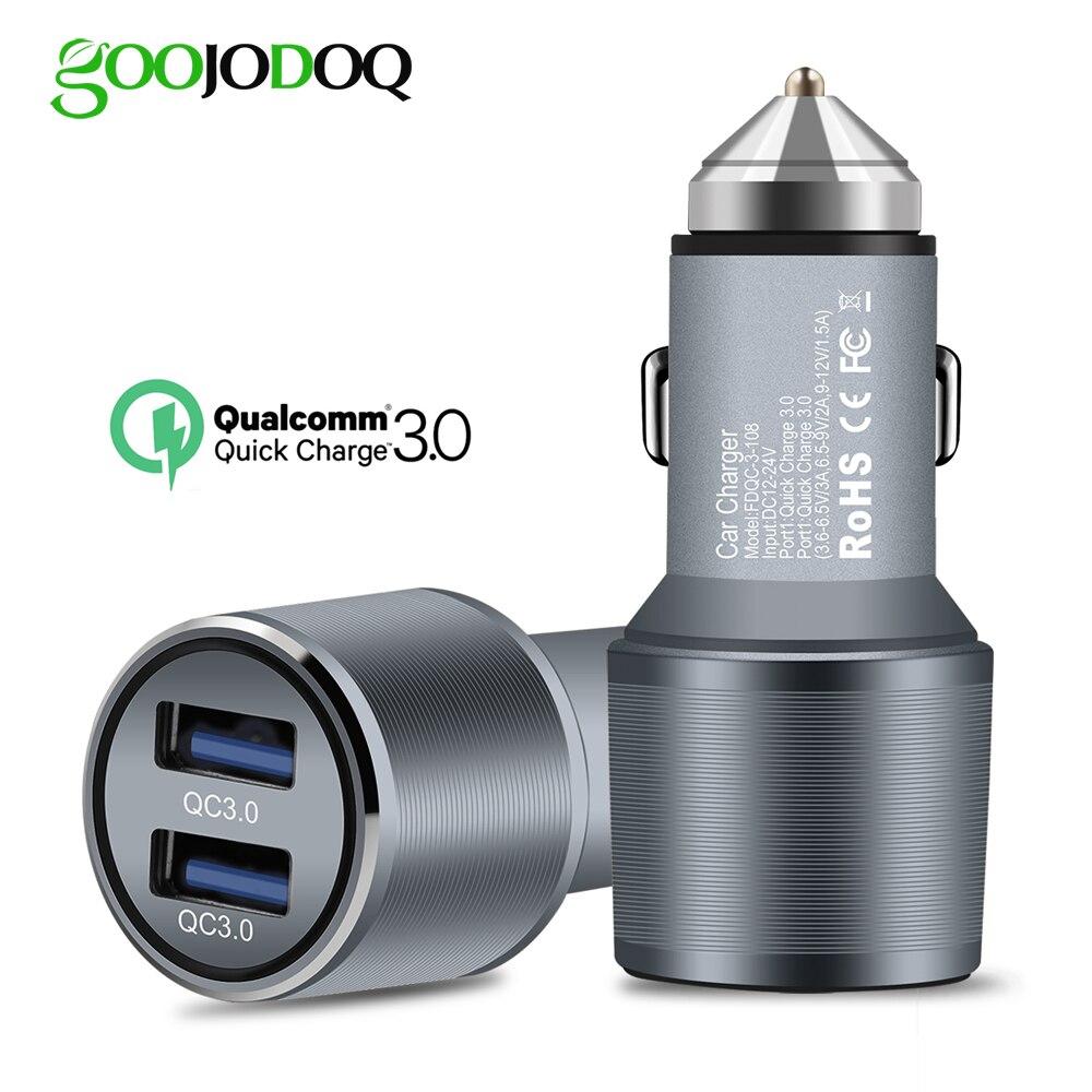 Cargador rápido QC 3,0 cargador de coche Dual adaptador encendedor de cigarrillos cargador de teléfono móvil para Xiaomi iPhone X 8 7 4 5 6 Samsung