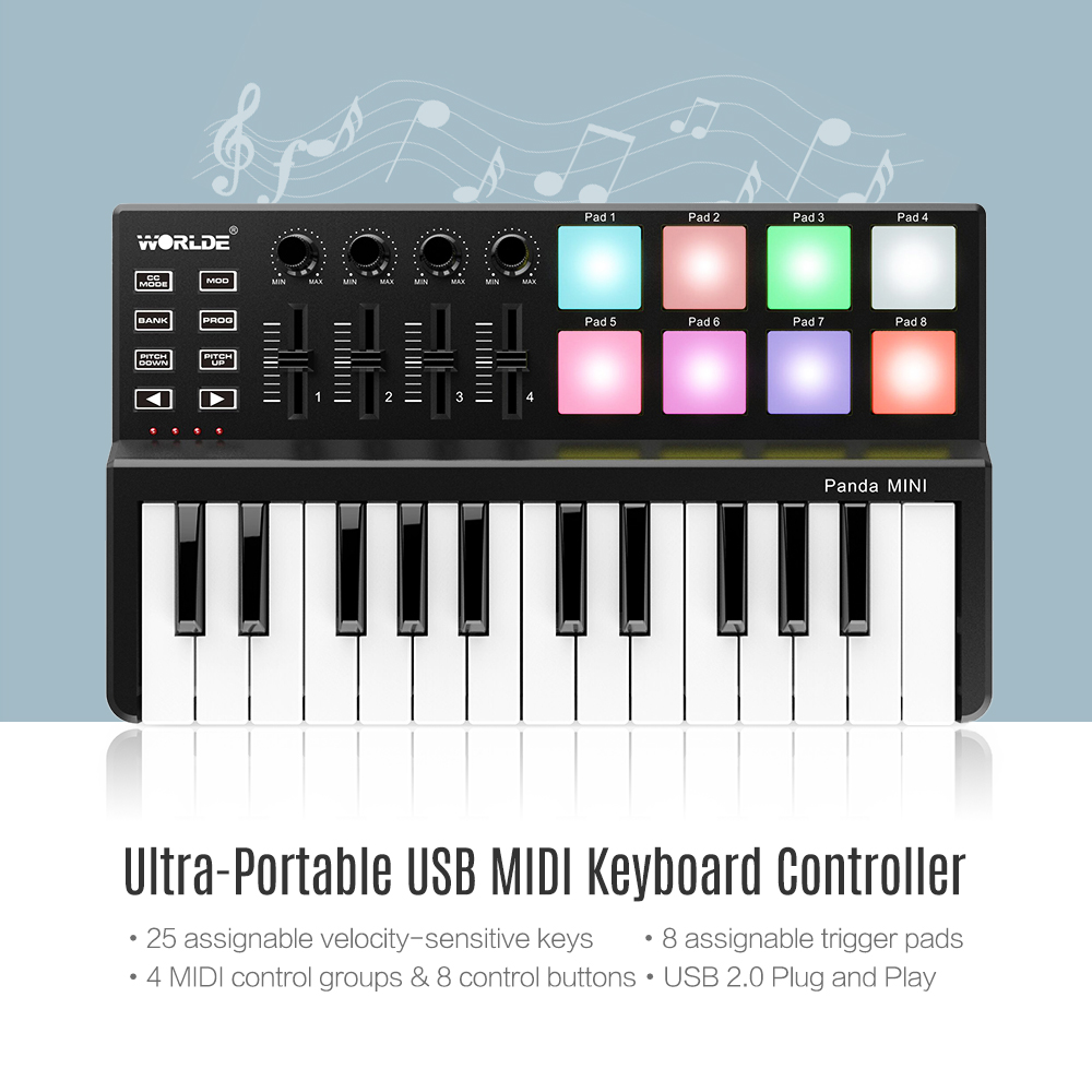 Image 4 - WORLDE Panda MINI 25 Key Ultra Portable USB MIDI Keyboard Controller 8 Colorful Backlit Trigger PadsPiano