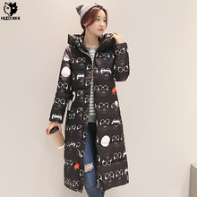 HUOX Print Glasses Pattern Hooded Warm Winter Coat Women Plus Size Long Jacket Female Cotton Padded Overcoat Lady Slim Parkas
