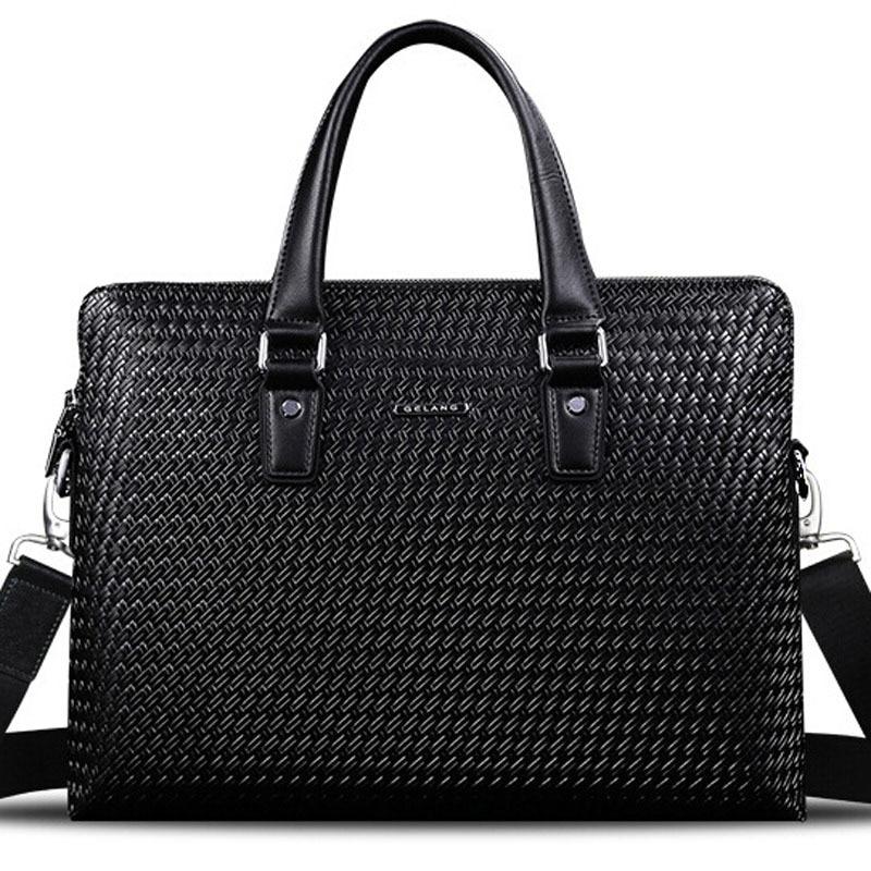 100 Genuine Leather Bag New Design Brand Men Knitting Handbag Briefcase Business Men s Travel Bags