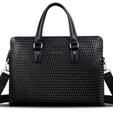 100% Genuine Leather Bag New Design Brand Men Knitting Handbag Briefcase Business Men's Travel Bags Luxurious Laptop Bag Handbag