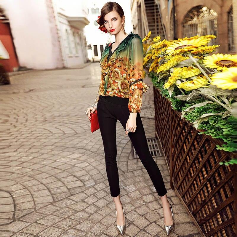 Floral Blusa Cuello xxxl Talla Elegante Verano Real Impresión V De Señora Gama Alta Grande M Flores Mujer Para Camisa En Multiple Vintage Chifón dAAwqr