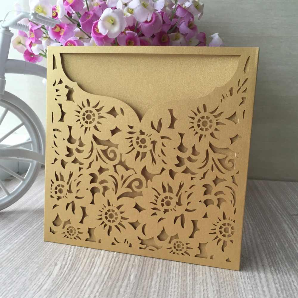 100Pcs Gold Flower Design Rustic Marriage Wedding Invitation Laser Cut  Invitation Card Envelope Seals Event & Party Supplies| | - AliExpress