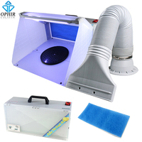OPHIR Hobby Airbrush Spray Booth Exhaust Filter Extractor Set with LED Light & Turntable Stand for Model Airplane Crafts Paint