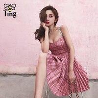 Tingfly Vintage Plaid Pleated Mini Dress Women Pink Color Spaghetti Strap Plaid Summer Party Dresses Runway 2018 Short Vestidos
