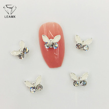LEAMX 10pcs Rhinestone Enamel Butterfly Nail Art Jewelry Glass Nail Decorations 3D DIY Manicure Crystal Charms Nails Making L504
