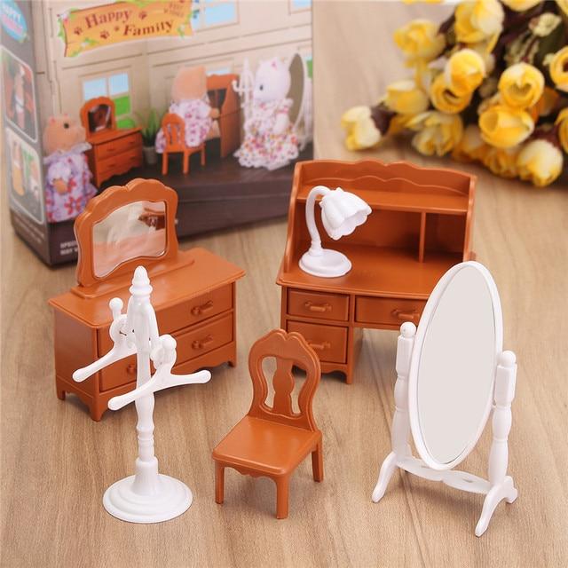 New Vintage Miniature Bedroom Furniture Set Dresser Desk Mirror Furniture Toys Set for Kids Christmas Gift Dollhouse Accessories