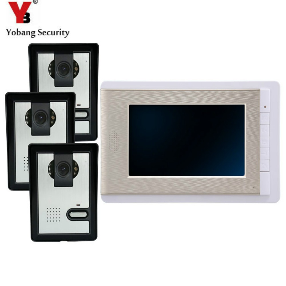 YobangSecurity 7 Inch Wire Video Door Phone Indoor Monitor Night Vision Waterproof Outdoor Camera with Intercom System 7inch video door phone intercom system for 5apartment tft lcd screen 5 flat indoor monitor with night vision cmos outdoor camera