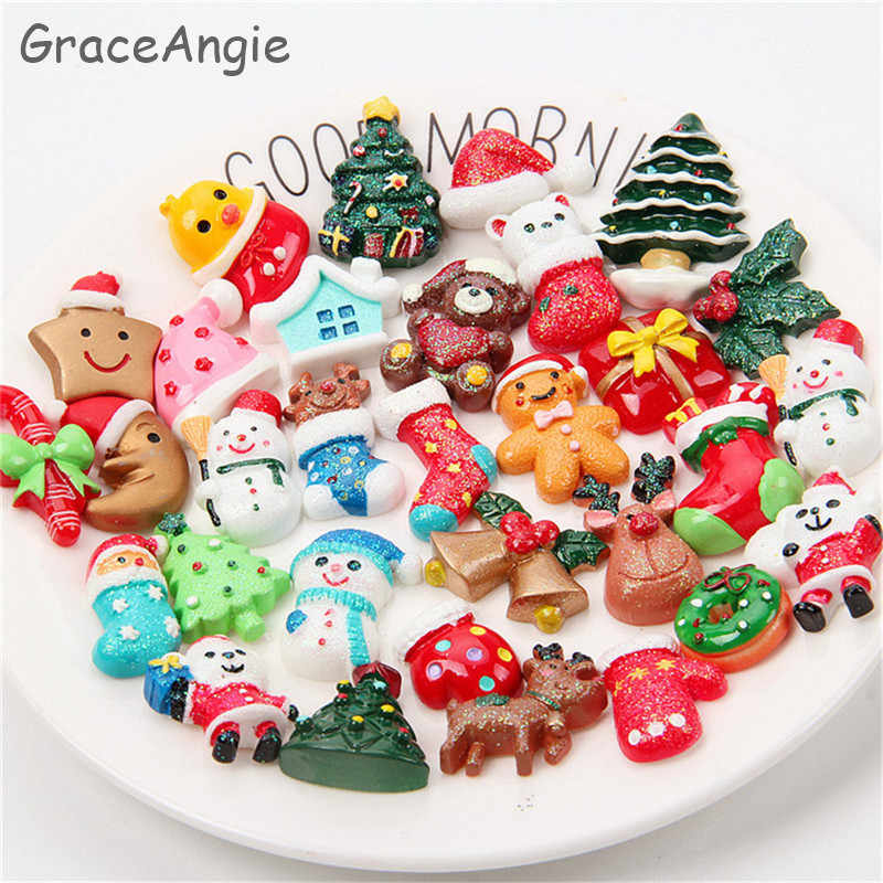 20pcs Resin cartoon Flatback Slime charms beads hair jewelry accessories Christmas  phone DIY Cameo Dome Cabochon Findings DIY