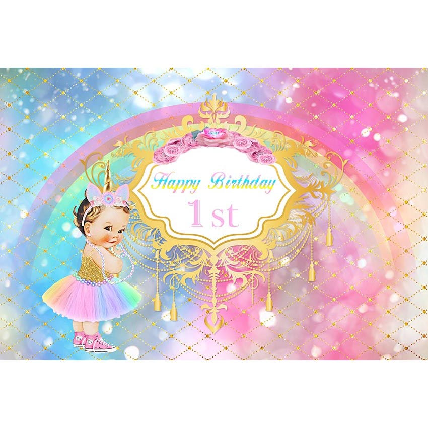 Gradient Unicorn Theme Photography Background Baby Girl In Colourful Dress And Rainbow Backdrop For Baby Girls First Birthday Background Aliexpress