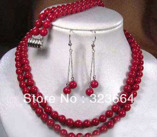 Hot Sell! 2 row Tibet red coral necklace earring bracelet set