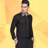 Hot Sale New Black Waltz Latin Dance Jacket Top Men Latin Dance Shirts Men Ballroom Dance Shirt Long Sleeved Jacket B 5988