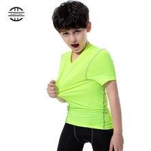 Yuerlian/Новинка; быстросохнущие лосины для детей; Детский костюм; спортивная одежда для фитнеса; Короткие Детские майки; рубашка для бега; спортивная футболка для мальчиков и девочек