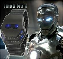 Nueva hierro samurai Hombres LED Digital Sport Reloj de Los Hombres de Acero Completo Llevó el Reloj de Los Hombres Relojes Militares de Metal Pulsera relogio masculino