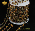 5Meter/Lot Yellow Tiger Eye Stone Beads Wire Wrapped Chip Beaded Chain - Bronze Wire Wrapped Rosary Chain JD015
