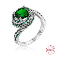 Real Solid 100% 925 Sterling Silver Rings for Women Luxury 3 Carat green Bery gemstone Engagement Ring Wedding Jewelry size 5 10