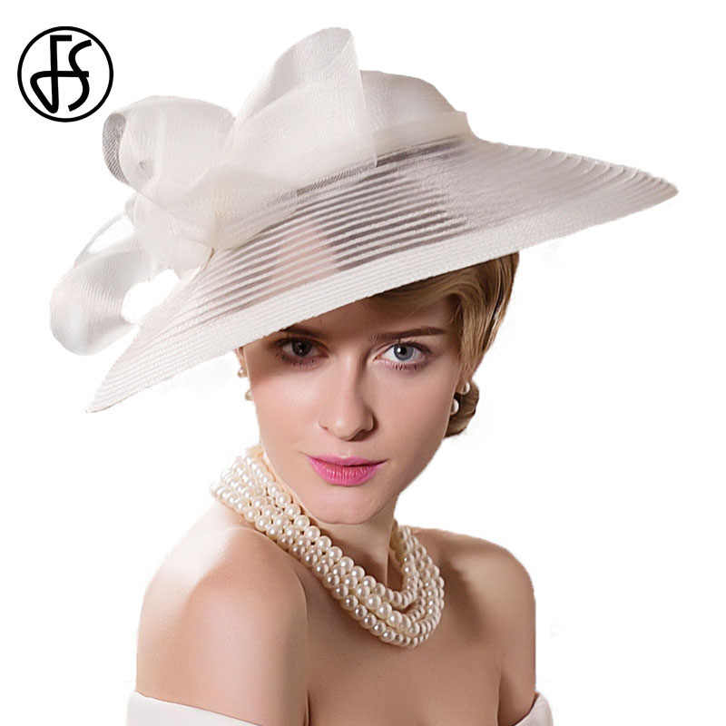 64d9a81f2fad8 FS Black White Wedding Large Wide Brim Women Hats Vintage Fedoras Elegant  Bow Kentucky Derby Church