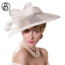 83e518eb2f10b FS Black White Wedding Large Wide Brim Women Hats Vintage Fedoras Elegant  Bow Kentucky Derby Church Tea Party Hat Chapeau Feutre