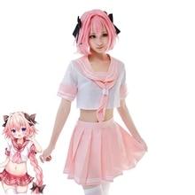 цена на New Fate/Apocrypha Astolfo Cosplay Costume Short Type Girls Sailor Uniform+Skirt Halloween Adult Costumes for Women/Men S-XL