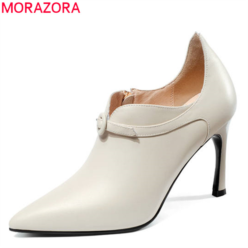 MORAZORA 2018 new arrival women pumps pointed toe spring summer ladies shoes genuine leather party shoes high heels shoes woman hee grand sweet patent leather women oxfords shoes for spring pointed toe platform low heels pumps brogue shoes woman xwd6447