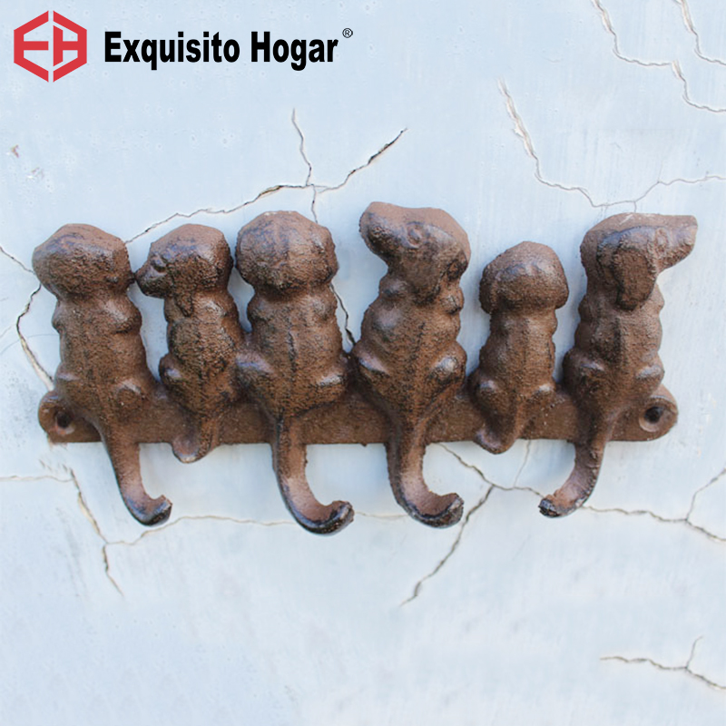 European American Country Retro Cast Iron Crafts Decorative Hook Hardware Wall Decoration Puppy Kitten