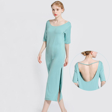 New Women Nightgowns Solid Color Loose Elastic Long Nightdress Ladies Open Back Sleepdress Sexy Lingerie Sleepwear Sleepshirts