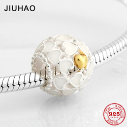Fashion 925 Sterling Silver dramatic white enamel heart plating gold beads Fit Original Pandora Charm Bracelet Jewelry making