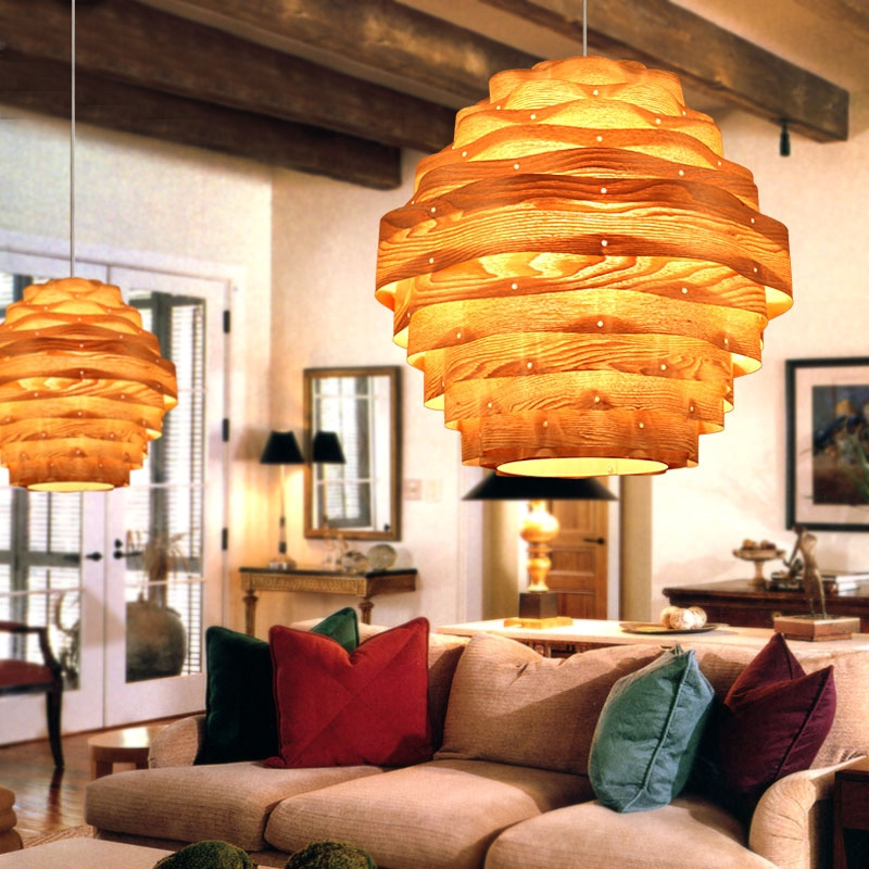Novelty Indoor Wood Hand-weaving pendant lights dining room living room light lamp e27 110v/ 220v for decor