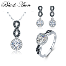 [BLACK AWN] 925 Sterling Silver Fine Jewelry Sets Trendy Engagement Sets Ring+Earring+Necklace for Women PTR036