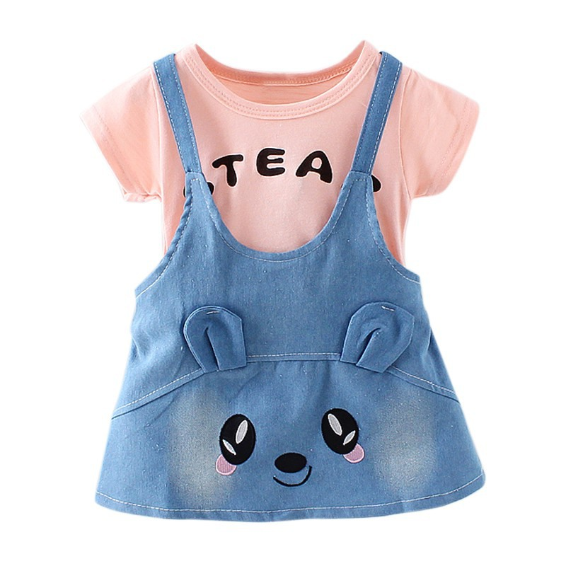 2018 Summer Fashion Baby Girls Dress Cute Short-sleeve Cowboy Cartoon Strap Fake 2 Pieces Clothes Set Baby Girl Dresses 1-4T Q1
