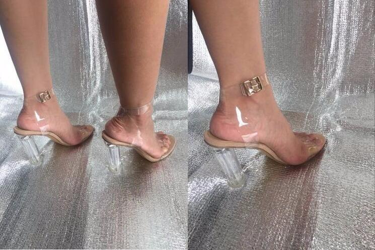 Mariage Transparent Sangle De Claires Heel 11 11cm Talons Chaussures Boucle Nouveau À Cm Hauts Inside Outside Buckle Femmes Design Sandales Parti 9 11 Cristal ScATqZw