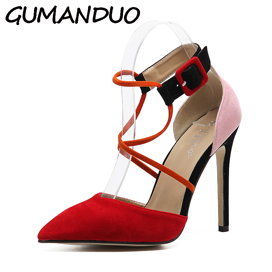 GUMANDUO Black Mixed Color Summer Sandals Women Pumps Cross Ankle Strap D'orsay High Heel Stilettos Party Dress Prom Shoes Woman fashion designer women high heel sandals mixed color strap cut out pumps heel elegant ladies weeding dress shoes real photo