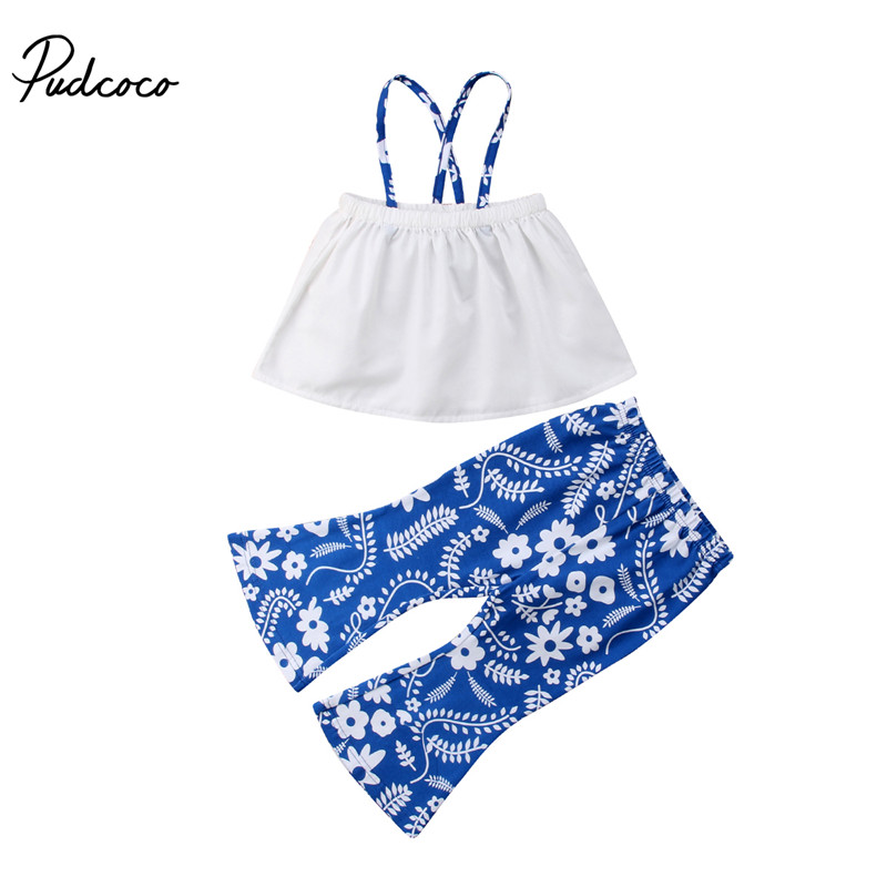 Pudcoco 2PCS Kids Baby Girls Off Shoulder Strap Tops Flared Leggings Pants Children Girls Clothes Summer Girls Pant Sets 1-5T