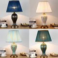 Американский стиль антикварная синяя настольная лампа прикроватная лампа для гостиной ручная роспись креативная Керамическая Настольная ...