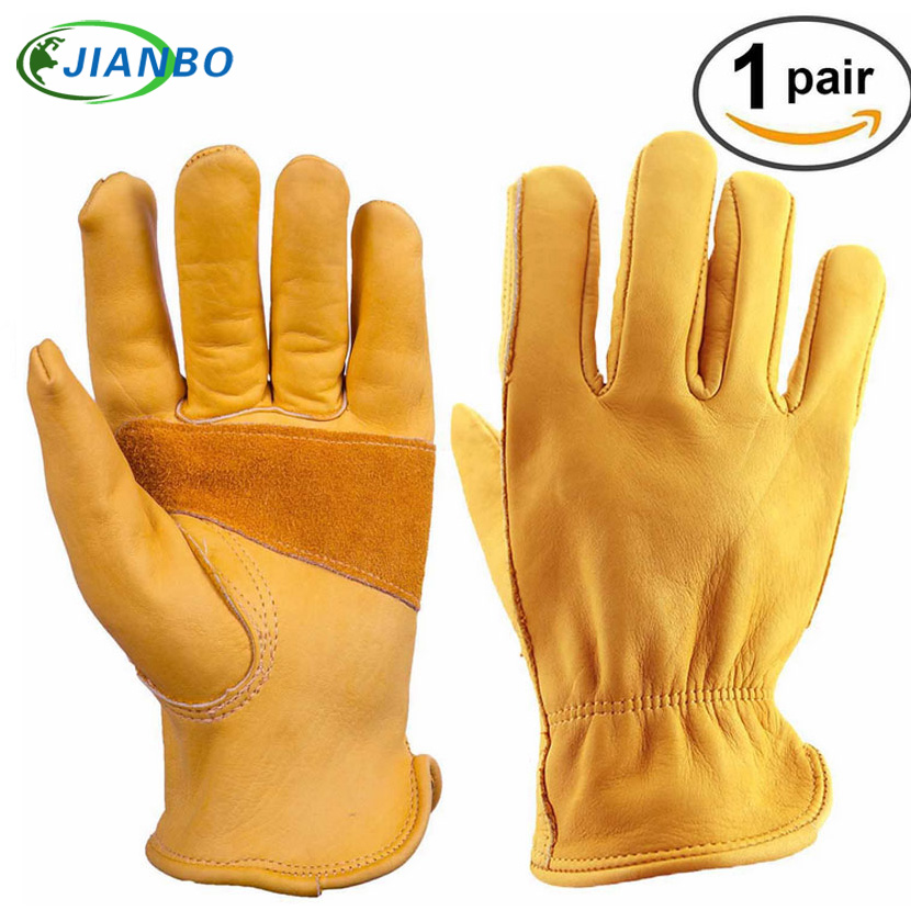 Mechanics Driver Men Motorcycle Work Gloves Non-slip Wearable Safety Cowhide Welding Riding Protection Racing Garden Moto Gloves