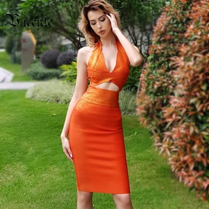 Image 1 - VC All Free Shipping HOT Two Pieces Halter Oil Print Sleeveless Sexy Hollow Out V Neck Celebrity Party Bandage Dress Set
