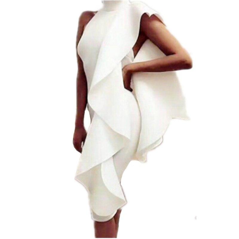 2017 nouveau Style robe d'été femmes Sexy sans manches volants moulante robes de soirée robe de soirée tenue de club Mori Gril