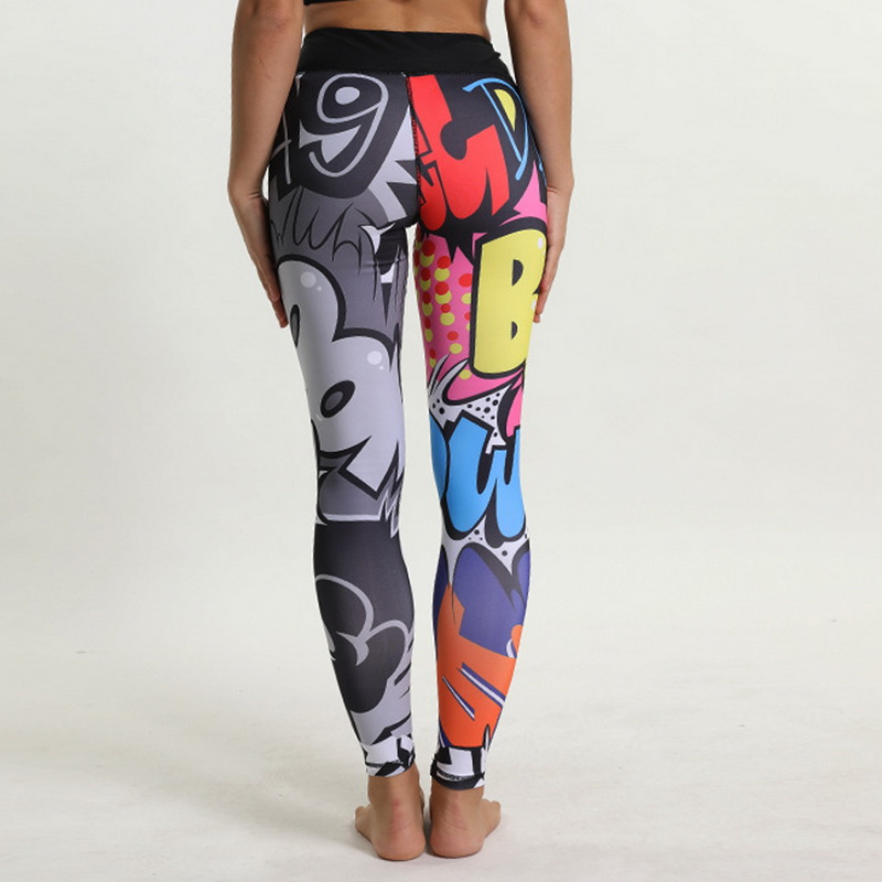 2019 Yoga Pants Women High Waist Print Sports Legging Fitness Gym Running Tights Female Sports Athletic Breathable Legin Pants 2