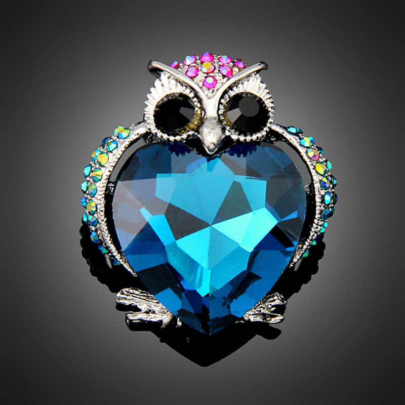 Baru Kedatangan Jantung Kristal Berlian Imitasi Owl Zinc Alloy Bros untuk Wanita Bros Pins Fashion Jewelry